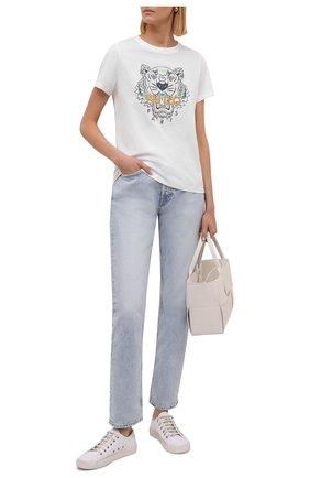 Женская хлопковая футболка KENZO белого цвета, арт. FB62TS8464YB | Фото 2 (Материал внешний: Хлопок; Стили: Спорт-шик; Принт: С принтом; Длина (для топов): Стандартные; Рукава: Короткие)