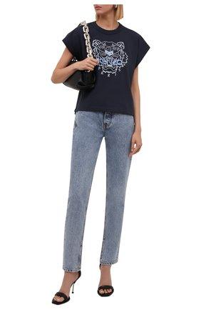 Женская хлопковая футболка KENZO темно-синего цвета, арт. FB62TS6454YF | Фото 2 (Материал внешний: Хлопок; Стили: Спорт-шик; Принт: С принтом; Длина (для топов): Стандартные; Рукава: Короткие)