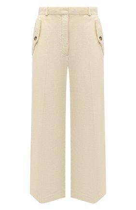 Женские вельветовые брюки KENZO  цвета, арт. FB62PA0369CV | Фото 1 (Материал внешний: Хлопок; Длина (брюки, джинсы): Укороченные; Стили: Кэжуэл; Женское Кросс-КТ: Брюки-одежда; Силуэт Ж (брюки и джинсы): Широкие)