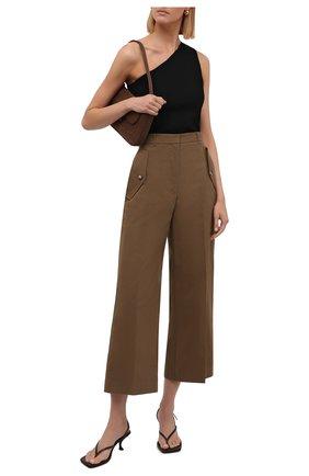 Женские хлопковые брюки KENZO коричневого цвета, арт. FB62PA0365AB   Фото 2 (Материал внешний: Хлопок; Длина (брюки, джинсы): Стандартные; Стили: Кэжуэл; Женское Кросс-КТ: Брюки-одежда; Силуэт Ж (брюки и джинсы): Широкие)