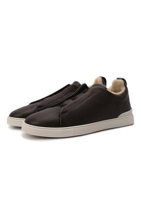 Мужские кожаные кеды triple stitch ZEGNA COUTURE темно-коричневого цвета, арт. A4668X-LHCLM | Фото 1 (Материал утеплителя: Натуральный мех; Подошва: Плоская)