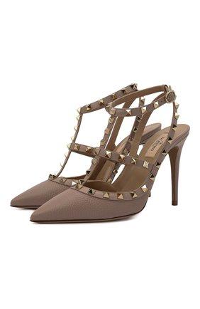 Женские кожаные туфли rockstud VALENTINO бежевого цвета, арт. WW2S0393/VCE | Фото 1 (Каблук высота: Высокий; Материал внутренний: Натуральная кожа; Подошва: Плоская; Каблук тип: Шпилька)