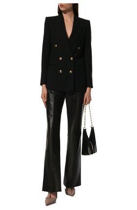 Женские кожаные туфли rockstud VALENTINO бежевого цвета, арт. WW2S0393/VCE | Фото 2 (Каблук высота: Высокий; Материал внутренний: Натуральная кожа; Подошва: Плоская; Каблук тип: Шпилька)
