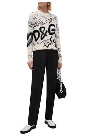 Женский шерстяной пуловер DOLCE & GABBANA черно-белого цвета, арт. FXD08T/JBVK7 | Фото 2 (Рукава: Длинные; Длина (для топов): Стандартные; Материал внешний: Шерсть; Стили: Спорт-шик; Женское Кросс-КТ: Пуловер-одежда)