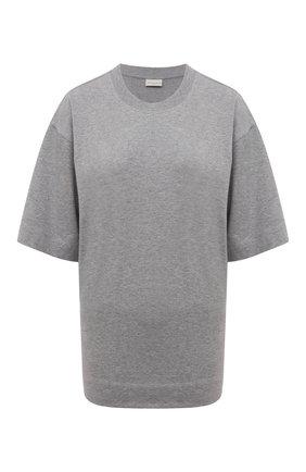 Женская хлопковая футболка DRIES VAN NOTEN серого цвета, арт. 212-011155-3604 | Фото 1 (Материал внешний: Хлопок; Стили: Кэжуэл; Принт: Без принта; Длина (для топов): Стандартные; Рукава: Короткие)