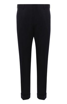 Мужские шерстяные брюки DRIES VAN NOTEN темно-синего цвета, арт. 212-020939-3230 | Фото 1 (Материал внешний: Шерсть; Длина (брюки, джинсы): Стандартные; Материал подклада: Купро; Случай: Повседневный; Стили: Кэжуэл)