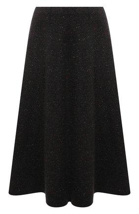 Женская кашемировая юбка LORO PIANA темно-серого цвета, арт. FAL8413 | Фото 1 (Длина Ж (юбки, платья, шорты): Миди; Материал внешний: Шерсть, Кашемир; Стили: Кэжуэл; Кросс-КТ: Трикотаж; Женское Кросс-КТ: Юбка-одежда)