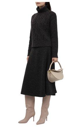 Женская кашемировая юбка LORO PIANA темно-серого цвета, арт. FAL8413 | Фото 2 (Длина Ж (юбки, платья, шорты): Миди; Материал внешний: Шерсть, Кашемир; Стили: Кэжуэл; Кросс-КТ: Трикотаж; Женское Кросс-КТ: Юбка-одежда)