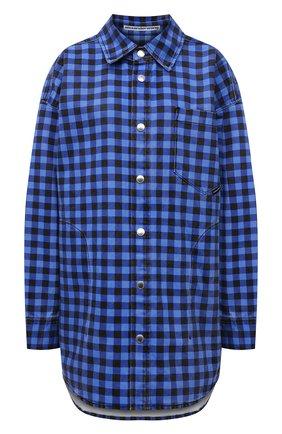Женская джинсовая куртка ALEXANDER WANG синего цвета, арт. UDC3212923   Фото 1 (Рукава: Длинные; Материал внешний: Хлопок; Длина (верхняя одежда): До середины бедра; Стили: Спорт-шик; Кросс-КТ: Деним, Куртка)