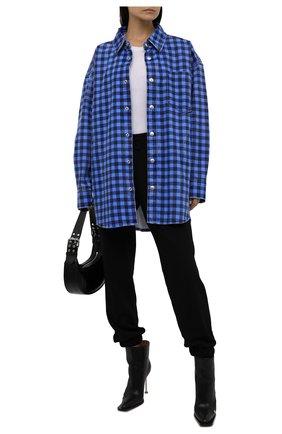 Женская джинсовая куртка ALEXANDER WANG синего цвета, арт. UDC3212923   Фото 2 (Рукава: Длинные; Материал внешний: Хлопок; Длина (верхняя одежда): До середины бедра; Стили: Спорт-шик; Кросс-КТ: Деним, Куртка)
