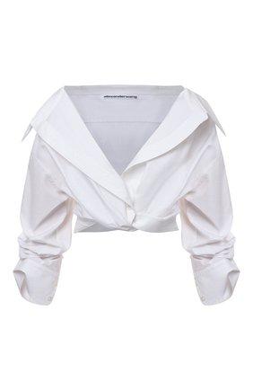 Женская хлопковая блузка ALEXANDER WANG белого цвета, арт. 1WC3211459   Фото 1 (Материал внешний: Хлопок; Рукава: Короткие; Стили: Романтичный; Принт: Без принта; Женское Кросс-КТ: Блуза-одежда; Длина (для топов): Укороченные)
