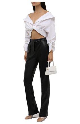 Женская хлопковая блузка ALEXANDER WANG белого цвета, арт. 1WC3211459   Фото 2 (Материал внешний: Хлопок; Рукава: Короткие; Стили: Романтичный; Принт: Без принта; Женское Кросс-КТ: Блуза-одежда; Длина (для топов): Укороченные)