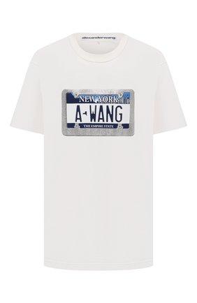 Женская хлопковая футболка ALEXANDER WANG белого цвета, арт. UCC3211441   Фото 1 (Рукава: Короткие; Материал внешний: Хлопок; Длина (для топов): Удлиненные; Стили: Спорт-шик; Принт: С принтом; Женское Кросс-КТ: Футболка-одежда)
