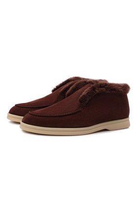 Женские замшевые ботинки LORO PIANA коричневого цвета, арт. FAG3602 | Фото 1 (Женское Кросс-КТ: Зимние ботинки; Материал внешний: Замша)