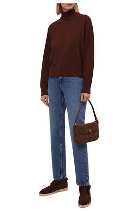Женские замшевые ботинки LORO PIANA коричневого цвета, арт. FAG3602 | Фото 2 (Женское Кросс-КТ: Зимние ботинки; Материал внешний: Замша)
