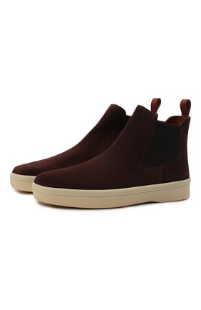 Мужские замшевые челси ultimate walk beatle LORO PIANA темно-коричневого цвета, арт. FAL9344 | Фото 1 (Подошва: Плоская; Материал внутренний: Натуральная кожа; Материал внешний: Замша; Мужское Кросс-КТ: Сапоги-обувь, Челси-обувь)