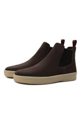 Мужские замшевые челси ultimate walk beatle LORO PIANA коричневого цвета, арт. FAL9344 | Фото 1 (Материал внутренний: Натуральная кожа; Материал внешний: Замша; Мужское Кросс-КТ: Сапоги-обувь, Челси-обувь; Подошва: Плоская)