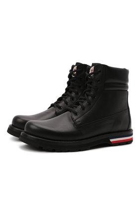 Мужские кожаные ботинки vancouver MONCLER черного цвета, арт. G2-09A-4F700-00-02S71 | Фото 1 (Материал внутренний: Натуральная кожа; Подошва: Плоская; Мужское Кросс-КТ: Ботинки-обувь)