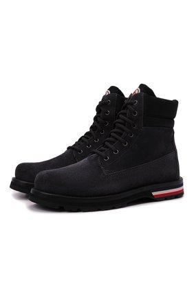 Мужские замшевые ботинки vancouver MONCLER темно-серого цвета, арт. G2-09A-4F700-00-02SYC | Фото 1 (Подошва: Плоская; Материал внутренний: Натуральная кожа; Материал внешний: Замша; Мужское Кросс-КТ: Ботинки-обувь)