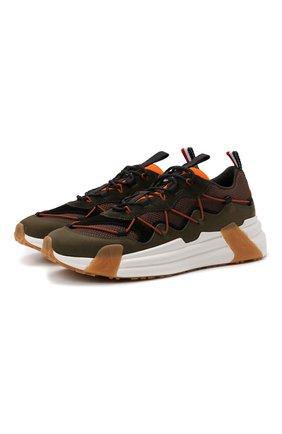 Мужские комбинированные кроссовки compassor MONCLER хаки цвета, арт. G2-09A-4M743-00-02SY9 | Фото 1 (Материал внутренний: Текстиль, Натуральная кожа; Подошва: Массивная; Материал внешний: Текстиль; Стили: Гранж)