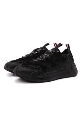 Мужские комбинированные кроссовки compassor MONCLER черного цвета, арт. G2-09A-4M743-00-02SY9 | Фото 1 (Материал внутренний: Текстиль, Натуральная кожа; Материал внешний: Текстиль; Стили: Гранж; Подошва: Массивная)
