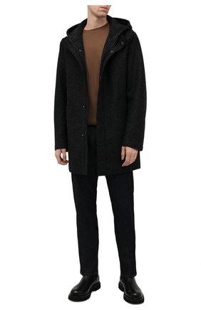 Мужская шерстяная парка HARRIS WHARF LONDON темно-серого цвета, арт. C9138MLK-W | Фото 2 (Материал утеплителя: Шерсть; Материал внешний: Шерсть; Кросс-КТ: Куртка; Рукава: Длинные; Длина (верхняя одежда): До середины бедра; Стили: Кэжуэл)