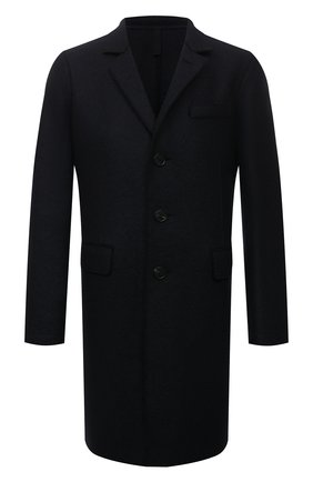 Мужской шерстяное пальто HARRIS WHARF LONDON темно-синего цвета, арт. C9113MLK | Фото 1 (Материал внешний: Шерсть; Мужское Кросс-КТ: пальто-верхняя одежда; Стили: Классический; Длина (верхняя одежда): До середины бедра; Рукава: Длинные)