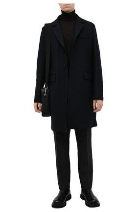 Мужской шерстяное пальто HARRIS WHARF LONDON темно-синего цвета, арт. C9113MLK | Фото 2 (Материал внешний: Шерсть; Мужское Кросс-КТ: пальто-верхняя одежда; Стили: Классический; Длина (верхняя одежда): До середины бедра; Рукава: Длинные)
