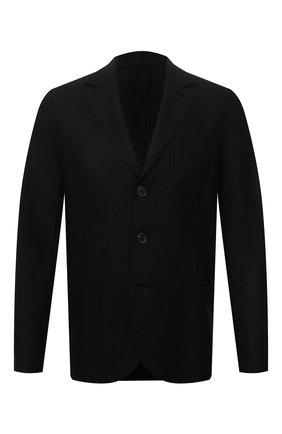 Мужской шерстяной пиджак HARRIS WHARF LONDON черного цвета, арт. C8B33MLX | Фото 1 (Материал внешний: Шерсть; Длина (для топов): Стандартные; Рукава: Длинные; Случай: Повседневный; 1-2-бортные: Однобортные; Пиджаки М: Прямой; Стили: Кэжуэл)