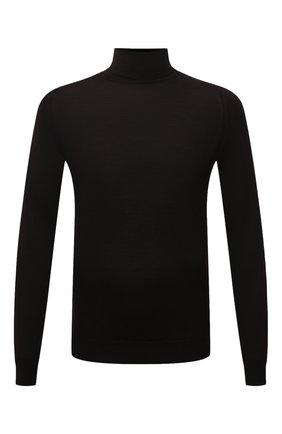 Мужской шерстяная водолазка JOHN SMEDLEY темно-коричневого цвета, арт. CHERWELL | Фото 1 (Материал внешний: Шерсть; Рукава: Длинные; Мужское Кросс-КТ: Водолазка-одежда; Длина (для топов): Стандартные; Принт: Без принта; Стили: Кэжуэл)