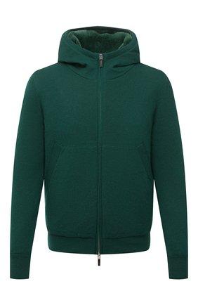 Мужской кашемировый бомбер с меховой подкладкой SVEVO зеленого цвета, арт. 0159SA21/MP01/2 | Фото 1 (Материал внешний: Шерсть, Кашемир; Рукава: Длинные; Длина (верхняя одежда): Короткие; Кросс-КТ: Куртка; Мужское Кросс-КТ: шерсть и кашемир, утепленные куртки; Принт: Без принта; Стили: Кэжуэл)