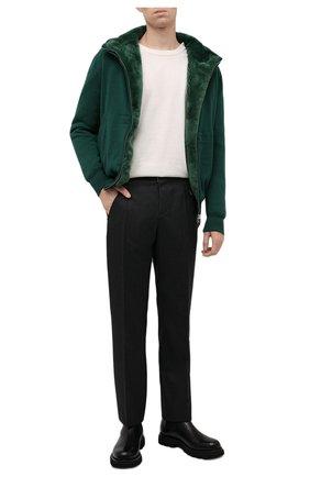 Мужской кашемировый бомбер с меховой подкладкой SVEVO зеленого цвета, арт. 0159SA21/MP01/2 | Фото 2 (Материал внешний: Шерсть, Кашемир; Рукава: Длинные; Длина (верхняя одежда): Короткие; Кросс-КТ: Куртка; Мужское Кросс-КТ: шерсть и кашемир, утепленные куртки; Принт: Без принта; Стили: Кэжуэл)