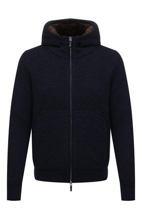 Мужской кашемировый бомбер с меховой подкладкой SVEVO темно-синего цвета, арт. 0159SA21/MP01/2 | Фото 1 (Материал внешний: Шерсть, Кашемир; Рукава: Длинные; Длина (верхняя одежда): Короткие; Кросс-КТ: Куртка; Мужское Кросс-КТ: шерсть и кашемир, утепленные куртки; Принт: Без принта; Стили: Кэжуэл)