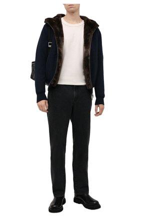 Мужской кашемировый бомбер с меховой подкладкой SVEVO темно-синего цвета, арт. 0159SA21/MP01/2 | Фото 2 (Материал внешний: Шерсть, Кашемир; Рукава: Длинные; Длина (верхняя одежда): Короткие; Кросс-КТ: Куртка; Мужское Кросс-КТ: шерсть и кашемир, утепленные куртки; Принт: Без принта; Стили: Кэжуэл)