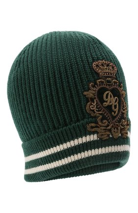 Мужская шерстяная шапка DOLCE & GABBANA зеленого цвета, арт. GX518Z/JBVF4   Фото 1 (Кросс-КТ: Трикотаж; Материал: Шерсть)