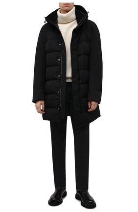 Мужская пуховик claudel MONCLER черного цвета, арт. G2-091-1C000-14-54ANL | Фото 2 (Длина (верхняя одежда): До середины бедра; Материал подклада: Синтетический материал; Материал утеплителя: Пух и перо; Рукава: Длинные; Материал внешний: Синтетический материал; Кросс-КТ: Куртка; Мужское Кросс-КТ: пуховик-короткий; Стили: Кэжуэл)