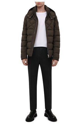 Мужская пуховая куртка cecaud MONCLER хаки цвета, арт. G2-091-1A001-76-C0142 | Фото 2 (Материал внешний: Синтетический материал; Материал утеплителя: Пух и перо; Материал подклада: Синтетический материал; Длина (верхняя одежда): Короткие; Рукава: Длинные; Кросс-КТ: Куртка; Мужское Кросс-КТ: пуховик-короткий; Стили: Кэжуэл)