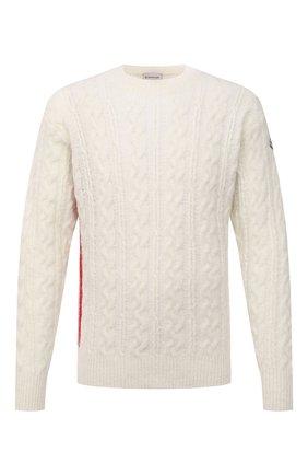 Мужской шерстяной свитер MONCLER кремвого цвета, арт. G2-091-9C000-08-M1211 | Фото 1 (Длина (для топов): Стандартные; Рукава: Длинные; Материал внешний: Шерсть; Принт: Без принта; Мужское Кросс-КТ: Свитер-одежда; Стили: Кэжуэл)