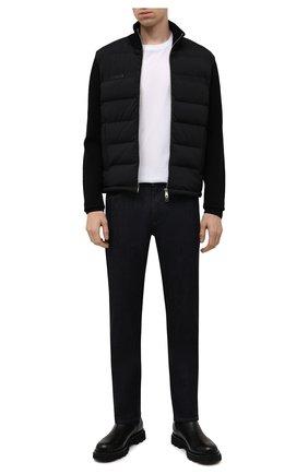 Мужской комбинированный кардиган MONCLER черного цвета, арт. G2-091-9B000-11-M1122 | Фото 2 (Материал подклада: Синтетический материал; Материал утеплителя: Пух и перо; Рукава: Длинные; Длина (для топов): Стандартные; Мужское Кросс-КТ: Кардиган-одежда; Материал внешний: Шерсть, Синтетический материал; Стили: Кэжуэл)