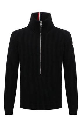 Мужской шерстяной свитер MONCLER черного цвета, арт. G2-091-9A000-03-M1241 | Фото 1 (Рукава: Длинные; Материал внешний: Шерсть; Длина (для топов): Стандартные; Принт: Без принта; Мужское Кросс-КТ: Свитер-одежда; Стили: Кэжуэл)