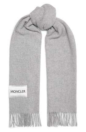 Мужской шерстяной шарф MONCLER светло-серого цвета, арт. G2-091-3C000-32-A0152 | Фото 1 (Материал: Шерсть; Кросс-КТ: шерсть)