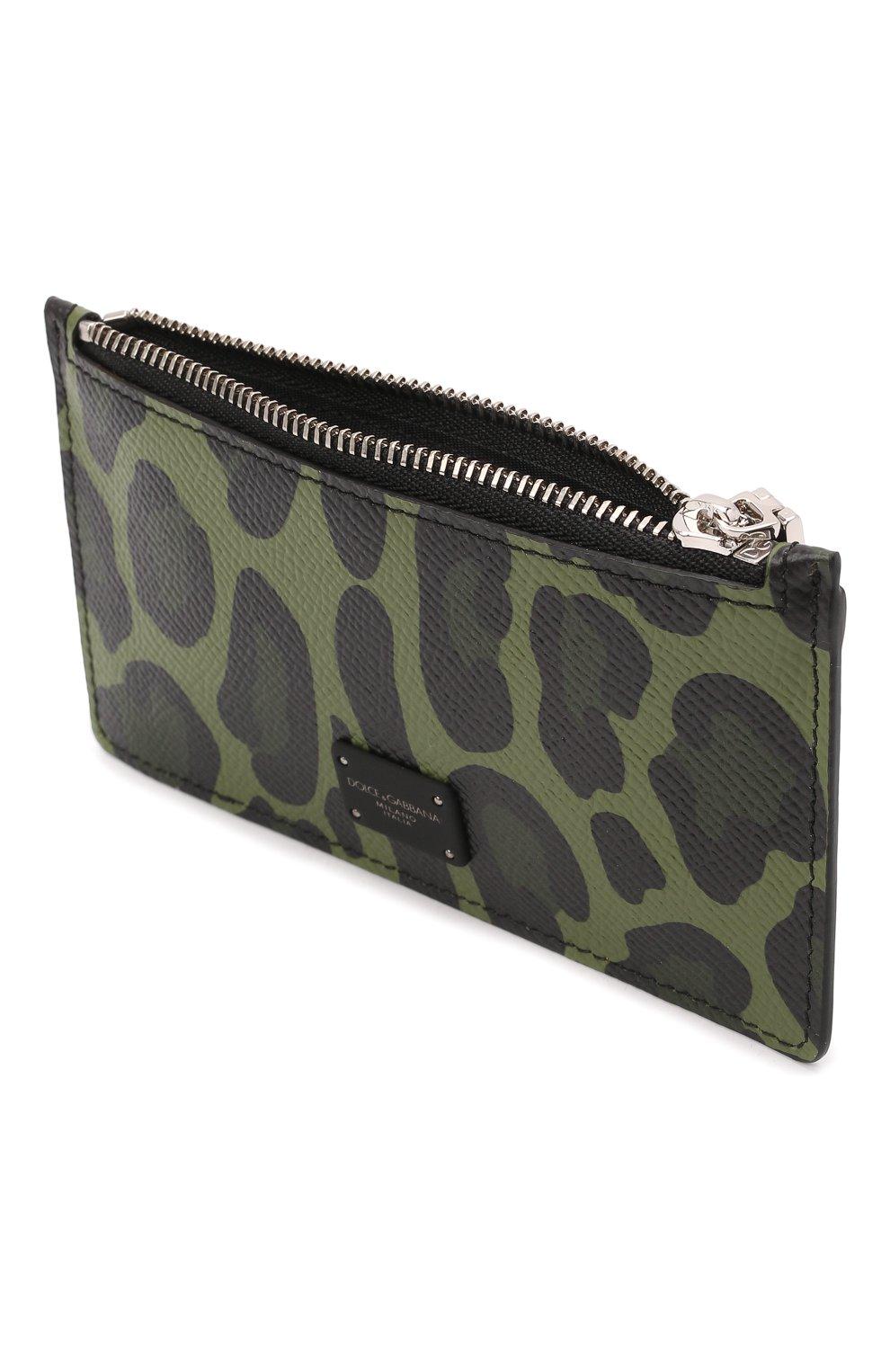 Мужской кожаный футляр для кредитных карт DOLCE & GABBANA зеленого цвета, арт. BP2527/AZ657 | Фото 3
