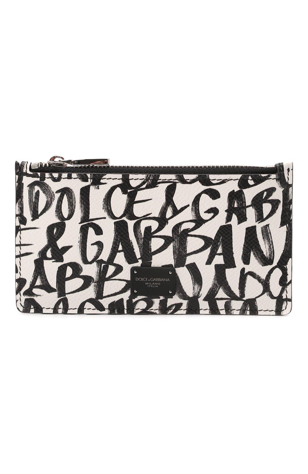Мужской кожаный футляр для кредитных карт DOLCE & GABBANA белого цвета, арт. BP2527/AZ657   Фото 1