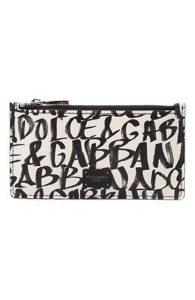 Мужской кожаный футляр для кредитных карт DOLCE & GABBANA белого цвета, арт. BP2527/AZ657 | Фото 1