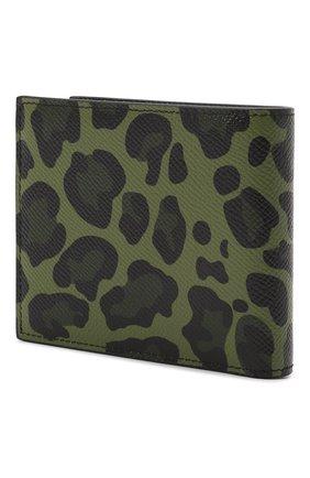 Мужской кожаное портмоне  DOLCE & GABBANA зеленого цвета, арт. BP2463/AZ657   Фото 2