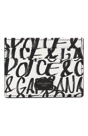 Мужской кожаный футляр для кредитных карт DOLCE & GABBANA черно-белого цвета, арт. BP0330/AZ657 | Фото 1