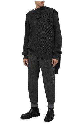 Мужские кашемировые джоггеры GIORGIO ARMANI темно-серого цвета, арт. 9WGPP08L/T02VS | Фото 2 (Материал внешний: Кашемир, Шерсть; Длина (брюки, джинсы): Стандартные; Силуэт М (брюки): Джоггеры; Стили: Кэжуэл)