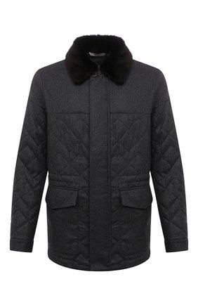 Мужская утепленная куртка CANALI серого цвета, арт. 020307/SG02130 | Фото 1 (Рукава: Длинные; Материал подклада: Синтетический материал; Материал внешний: Шерсть; Кросс-КТ: Куртка; Мужское Кросс-КТ: утепленные куртки; Стили: Классический; Длина (верхняя одежда): До середины бедра)