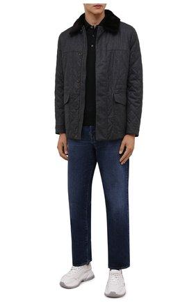 Мужская утепленная куртка CANALI серого цвета, арт. 020307/SG02130 | Фото 2 (Рукава: Длинные; Материал подклада: Синтетический материал; Материал внешний: Шерсть; Кросс-КТ: Куртка; Мужское Кросс-КТ: утепленные куртки; Стили: Классический; Длина (верхняя одежда): До середины бедра)