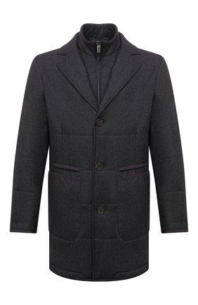 Мужская утепленная куртка CANALI серого цвета, арт. 010379/SG02130 | Фото 1 (Материал подклада: Синтетический материал; Материал внешний: Шерсть; Рукава: Длинные; Кросс-КТ: Куртка; Мужское Кросс-КТ: утепленные куртки; Стили: Классический; Длина (верхняя одежда): До середины бедра)